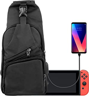 Linkstyle Backpack for Nintendo Switch with USB Charging Port, Crossbody Gamer Travel Bag for Console Joy-Cons Accessories with Adjustable Shoulder Strap