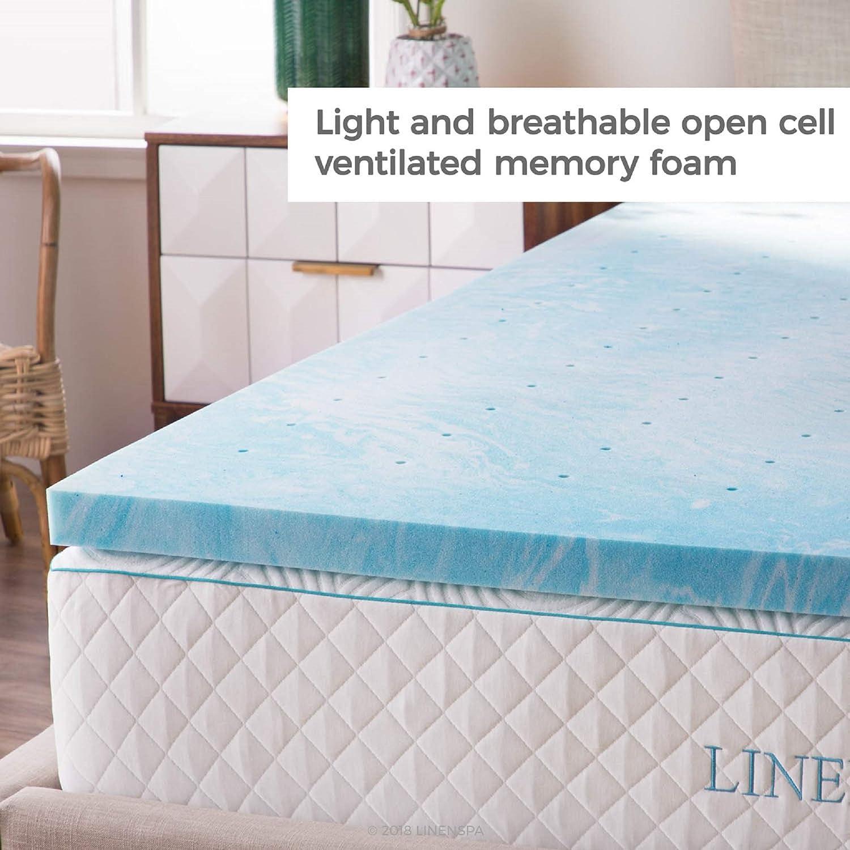Linenspa 4 Inch Gel Swirl Memory Foam Topper Queen