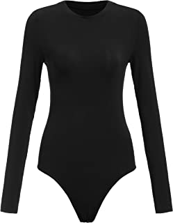 Floerns Women's Solid Long Sleeve Crew Neck Tight Romper Jumpsuits Bodysuit