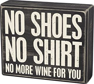 Primitives by Kathy Box Sign No More Wine Home Decor,Distressed Black/White
