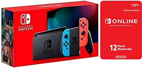 Nintendo Switch with Neon Red & Neon Blue bundled With Online 12-Month Individual Membership