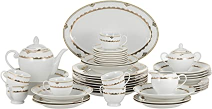 Symphony Gold Decal Round Dinner Set - 47 Pieces, White