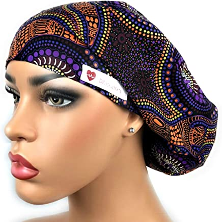 Women s Surgical Scrub Hat Nurse Ponytail Adjustable Euro Bouffant Purple  African DK Scrub Hats a0c13ed6da36