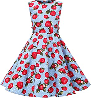 KISSOURBABY Girls Sleeveless Summer Swing Casual Clothes Vintage Floral Print Polka Dot Dress for 4-12Years