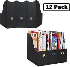 Magazine File Holder (Set of 12, Black), Sturdy Cardboard Magazine Holder, Folder Holder, Magazine Organizer, Folder Organizer, Magazine Box, File Storage, or Book Bins for Classroom Library Organizer