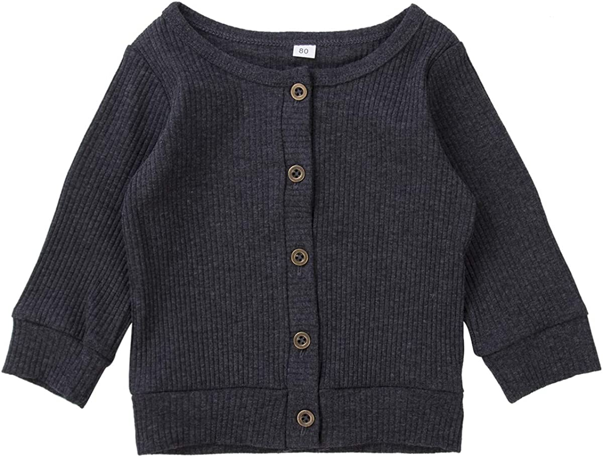 Newborn Baby Girl Boy Knit Cardigan Sweaters Button Solid Color Top for 0-2T Kid