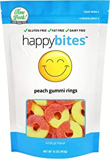 Happy Bites Peach Gummi Rings - Gluten Free, Fat Free, Dairy Free - Resealable Pouch (1 Pound)