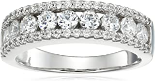 Chapado en platino plata de ley Circonita Swarovski redondo tres fila de anillo