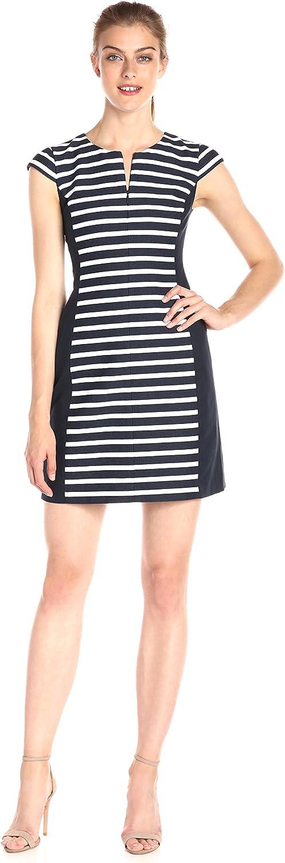 A X Armani Exchange Womens Crew Neck Cap Sleeved Striped colorblock Detail Dress Dress
