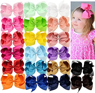 Hair Bows 20 Pcs 6 inch Grosgrain Ribbon Boutique Hair Clips for Girls Alligator Toddler Baby