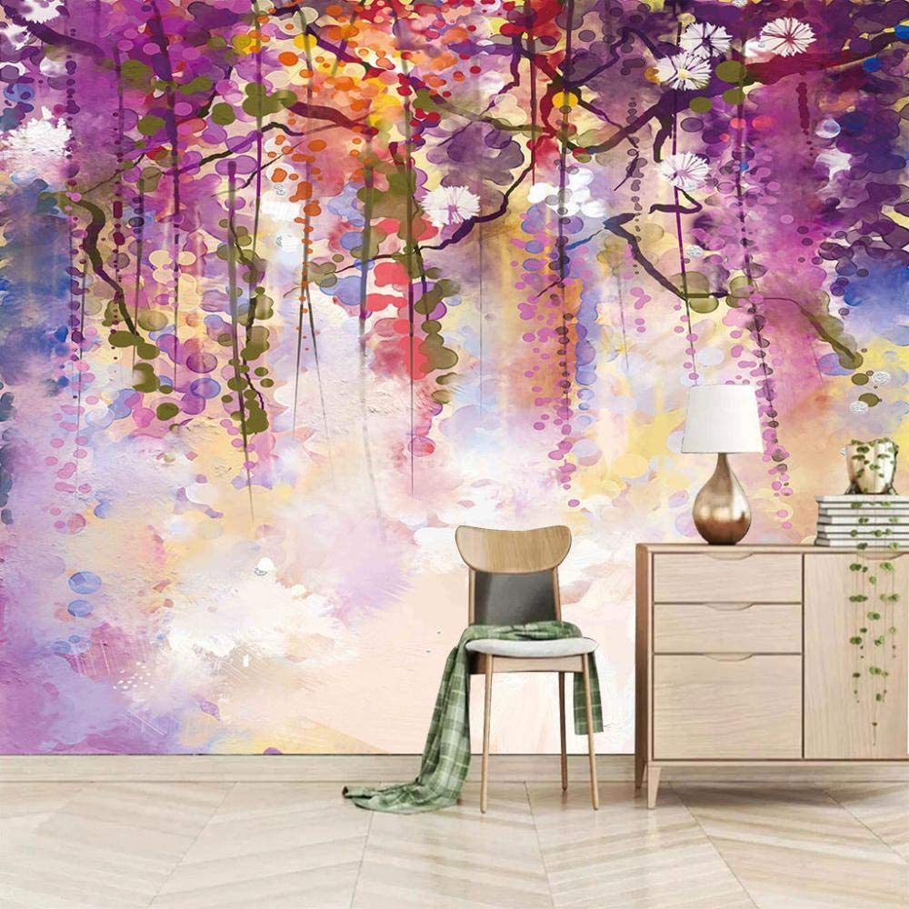 Large Same day shipping Our shop OFFers the best service Photo WallpaperPainted Leaves Peel 157.5x110 Mural inch