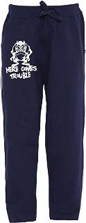 American-Elm Junior Boys Nevy Blue Regular Fit Printed Track Pant