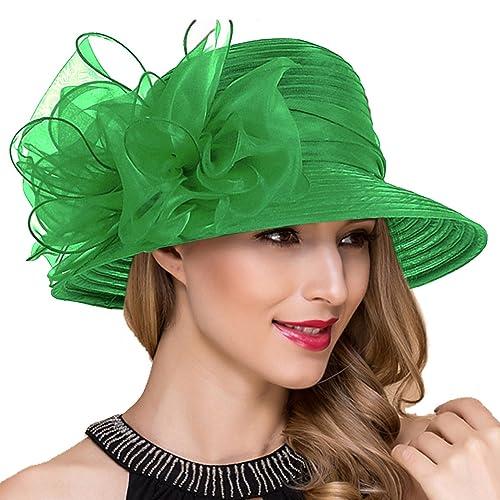ba639483 Lady Church Derby Dress Cloche Hat Fascinator Floral Tea Party Wedding  Bucket Hat S051