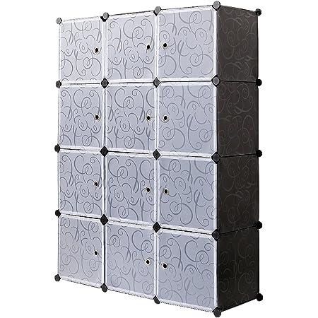 Meerveil Armoire Penderie Portable, Étagère de Rangement, Cubes de Stockage Modulaire en Plastique en métal Stable, Assemblage Facile pour Vêtements, Accessoires, Jouets (Noir, 12 Cubes)