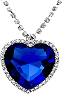 New Large Blue Crystal Heart Necklace with Crystal Chain Jewelry Gift Silver Plated