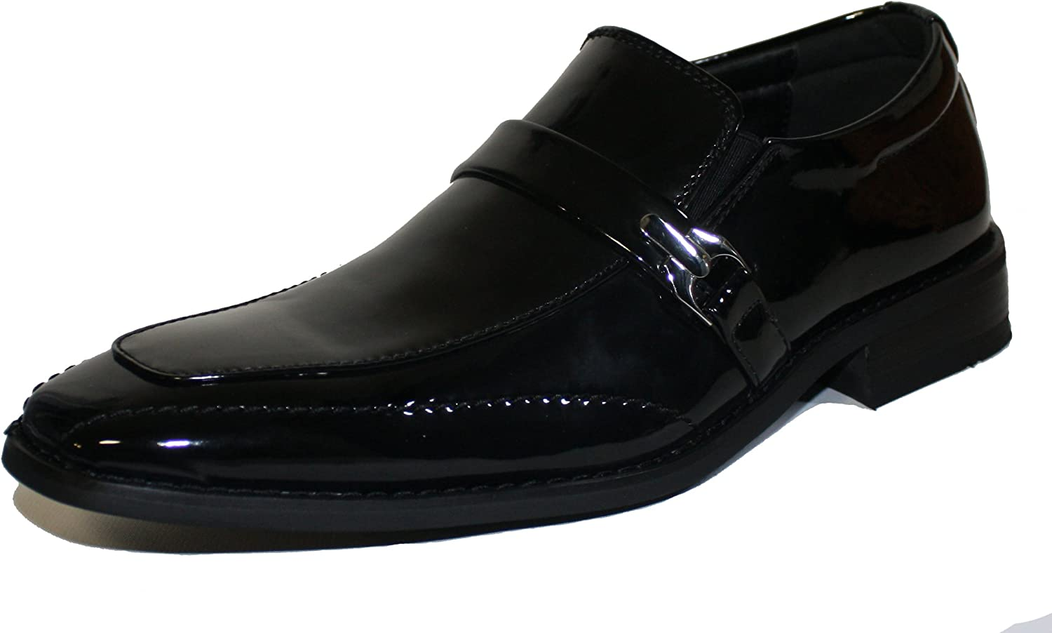Faranzi F4691 Patent Leather Tuxedo Strap and Buckle Slip-on Loafer Oxford shoes for Men Dress shoes