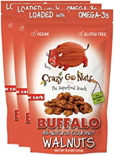 Crazy Go Nuts Walnuts - Buffalo, 4.5 oz (3-Pack) - Healthy Snacks, Vegan, Gluten Free, Superfood - Natural, ALA, Omega 3 F...