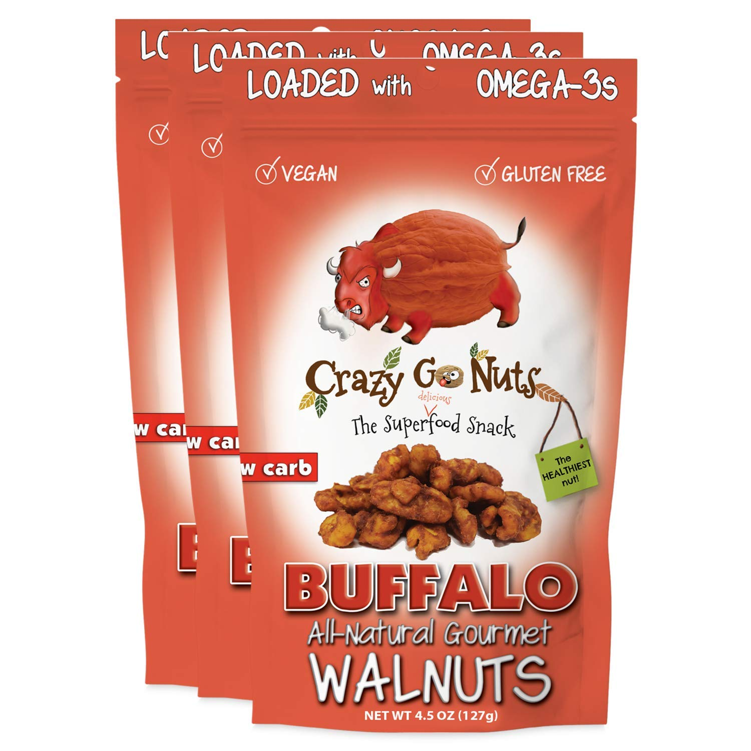 Crazy Go Nuts Walnuts Challenge the Max 87% OFF lowest price - Buffalo oz 4.5 3-Pack Snack Healthy