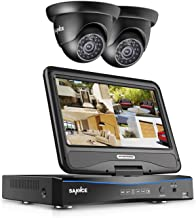 SANNCE 4Channel 1080N CCTV DVR Recorder and 2pcs 720P HD Surveillance Dome Camera with Night Vision, Built-in 10 inch LCD Monitor, Email Alarm, Motion Detect, Phone Access, No Hard Drive