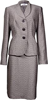Le Suit Womens Monte Carloメタリックジャカードスカートスーツ