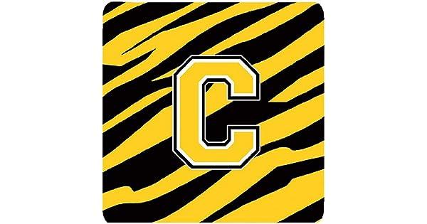Initial Letter C Set of 4 3.5 H x 3.5 W Carolines Treasures CJ1026-CFC Monogram-Tiger Stripe-Black Gold Foam Coasters Multicolor