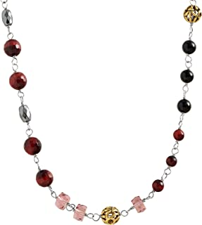 Burgundy Blush' Natural Agate, Hematite & Red Tiger's Eye Necklace in Sterling Silver & Brass