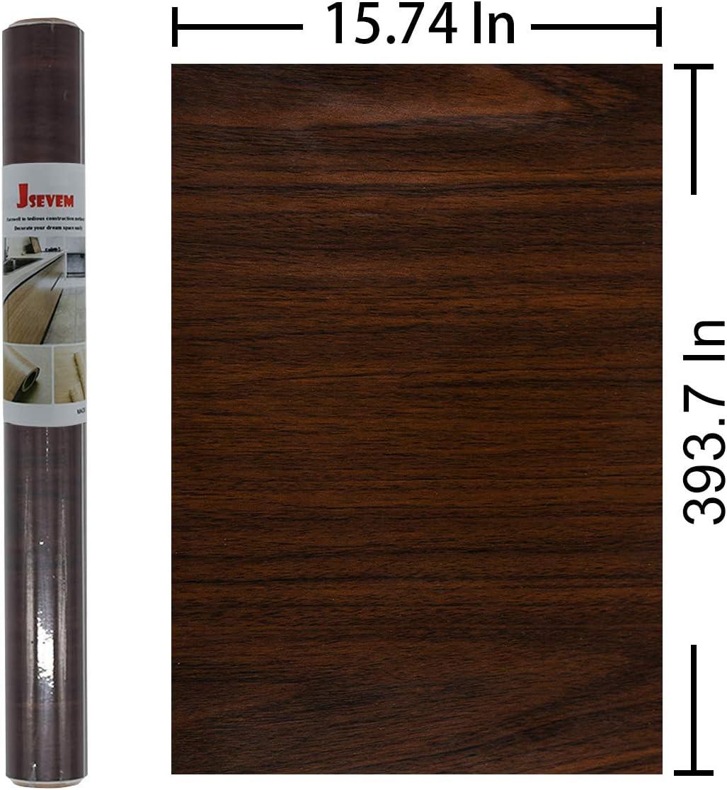 JSEVEM papel pintado marr/ón oscuro papel de contacto de madera de nogal extra/íble autoadhesivo papel de contacto para