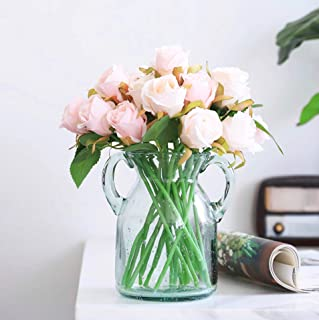 Meiliy 24 Heads Silk Artificial Rose Flower Champagne Pink Fake Roses Bouquets Table Centerpieces for Home Hotel Office Wedding Party Garden Craft Art Decor (Vase not Included)