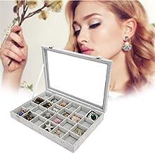 iuockg 24 Grid Velvet Jewelry Tray Showcase Display Storage Rings Earrings Vintage Organizer Top Lockable (Gray)