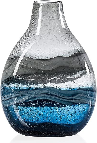 Torre Tagus Andrea Swirl Glass Short Bulb Vase Blue