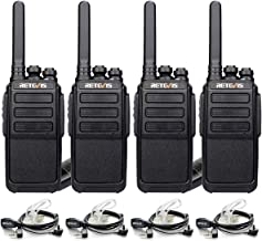 Retevis RT28 Walkie Talkies Rechargeable Long Range VOX Hand Free FRS 16 Channels Emergency Alarm 2-Way Radios with Earpiece Headset 2 Pin(4 Pack)