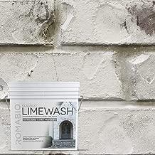 Romabio Classico Limewash Interior/Exterior Paint, Italian slaked-Lime, One Coat, Cristallo White, 2.5L/0.67GAL