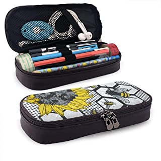 LIN. Pencil Case, High Capacity Pen Bag Pouch with Zipper for School & Office Supplies, Pencil Pouch Bag Stationary Case, Compact Makeup Bag (Sunflower Bee Beehive)