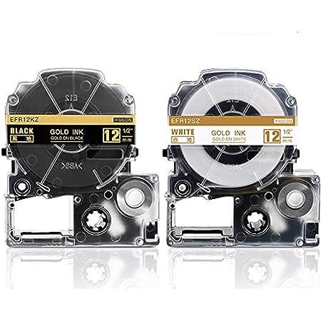 Suminey キングジム テプラPRO リボン テープ カートリッジ SFR12KZ SFR12SZ 黒底金文字 白底金文字 互換 りぼんラベル 12mm テプララベルライター対応 二個セット