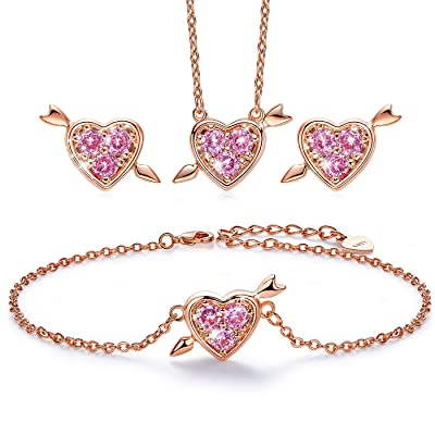 Save 70% CDE Cupid Love Necklace Set Double Chain Three Jewelry Sets Bracelet Earrings Sterling Silver