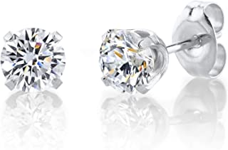 STUDEX Sensitive Stud Earrings 5mm Cubic-Zirconia in a Tiffany Setting