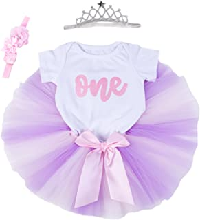 Baby Girls 1st Birthday Bling One Romper Tutu Skirt Flower Crown Headband