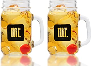 Mr. & Mr. Gay Couple Mason Jars With Gift Box - Same Sex Drinking Glasses - His and His - For Wedding, Engagement, Anniversary, House Warming, Host Gift, 16 ounce