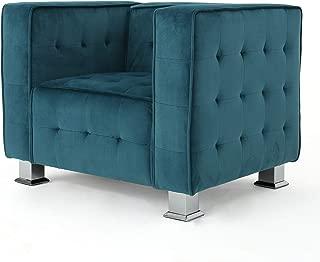 Christopher Knight Home Boden Tufted Modern Deco New Velvet Arm Chair, Dark Teal/Silver