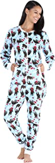 Women's Plush Fleece Non-Footed Onesie Loungewear Pajamas