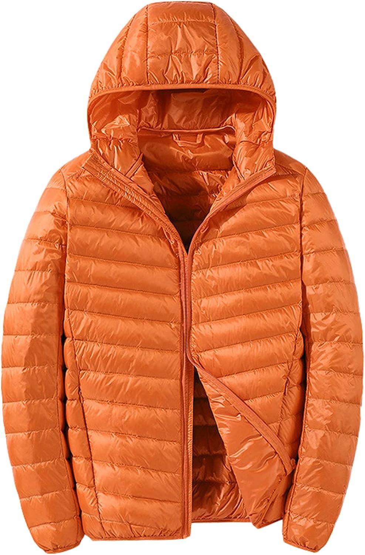 LZJDS Men's Hooded Down Jacket Lightweight Packable Puffer Jacket Warm Winter Skiing Snow Coat