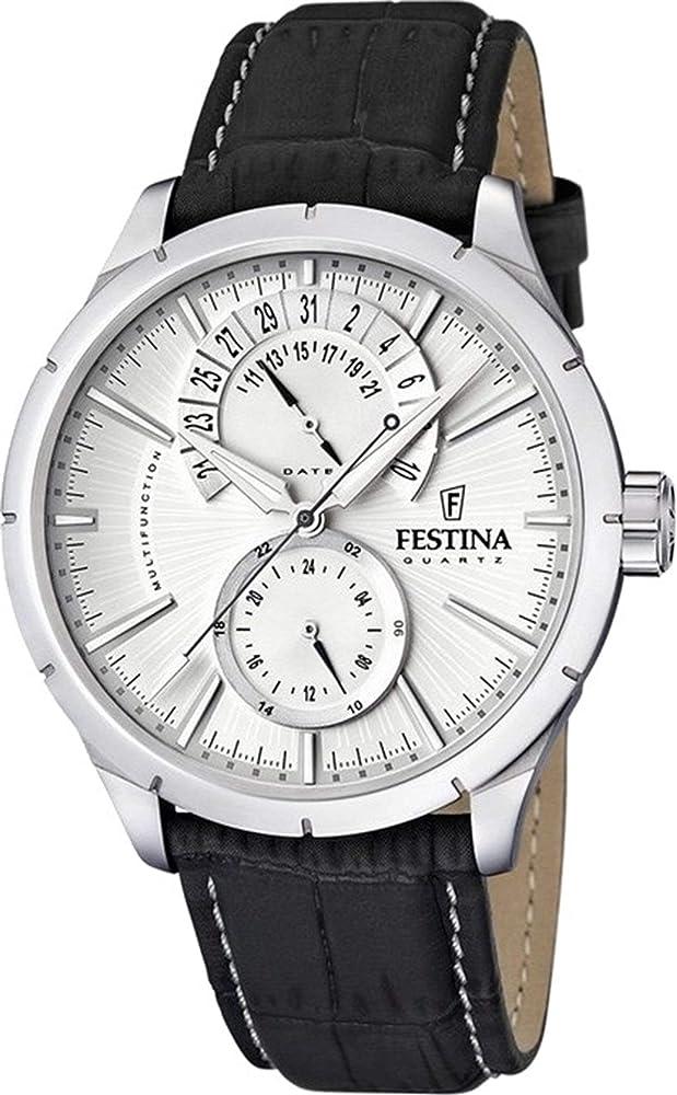 Festina orologio analogico da uomo con cassa in acciaio inossidabile cinturino in vera pelle F16573/1