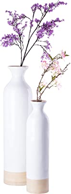 Uniquewise QI003455WN.2 Cylinder Shaped Tall Spun Floor Vase Glossy White Lacquer and Natural Bamboo Finish, Set of 2
