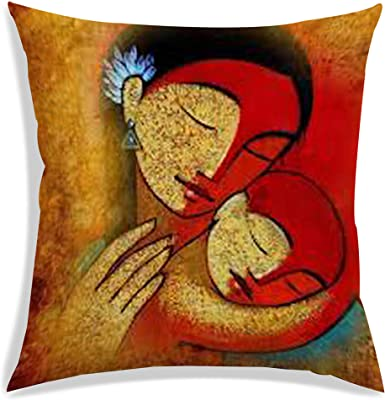 RADANYA Mother with Baby Digitally Printed Cushion Cover with Filler Brown Decorative Square Throw Sofa Couch Pillow Case 12X12 Inch
