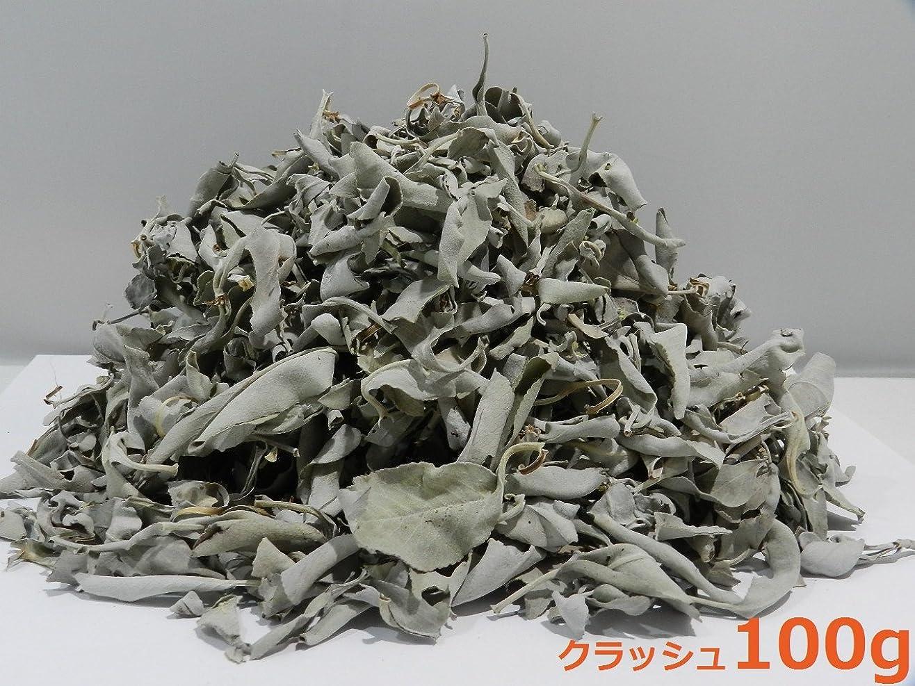 感謝祭寛大な不規則なカリフォルニア産 浄化用 ホワイトセージ /White Sage クラッシュ 100g☆海外輸入品
