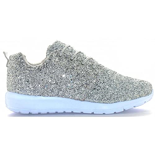 b79d1042ad40 Womens Ladies Lace Up Glitter Sparkly Trainers Sneakers Gym Pumps Fitness  Size