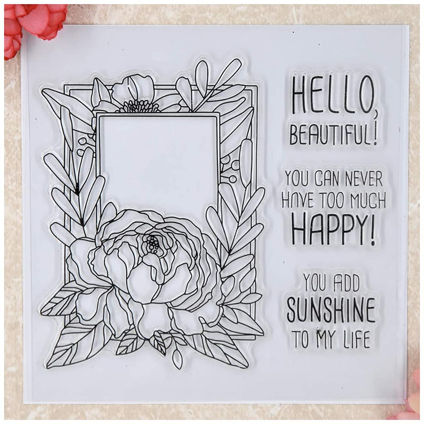 Kwan Crafts Flowers Frame Sunshine Clear Stamps for Card Making Decoration and DIY Scrapbooking