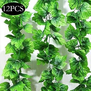 SPECOOL Hojas Guirnalda Plantas Artificiales decoracio, 10 Paquetes de Plantas Artificiales Colgantes Fake Vines Silk Ivy Hojas Verde Guirnalda para Boda Cocina Pared Al Aire Libre Fiesta