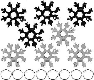 Snowflake Multitool, 8 pcs 18 in 1 Snowflake Multifunction Tool, Stainless Steel Portable Steel Multifunction Tool Daily T...