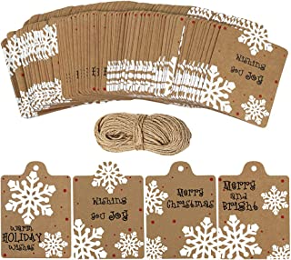 100 Pcs Christmas Winter Kraft Brown Gift Tags Label Snowflake Prints Favor Tags Rustic Treat Tags to/from Tags Merry tie-on Tags Festive Warm Wishes Cards Tags Label and 30 Yards Jute Twines String